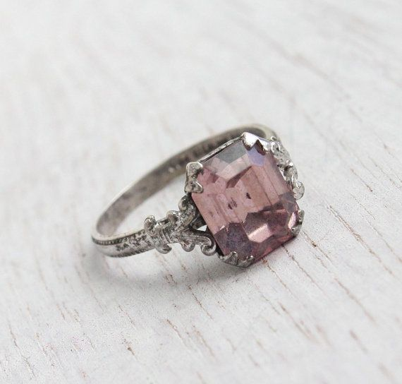 Antique Art Deco Pink Stone Sterling Silver Ring -  Vintage Size 4 1930s Jewelry / Faceted Rectangle