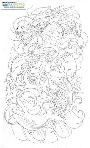 Dragon and koi fish