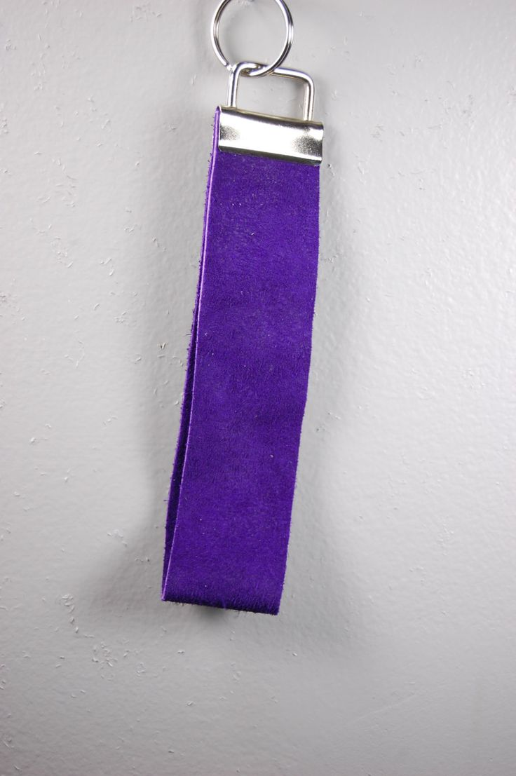Bright Purple Suede Wristlet Keychain by BerkeandBradyJo on Etsy