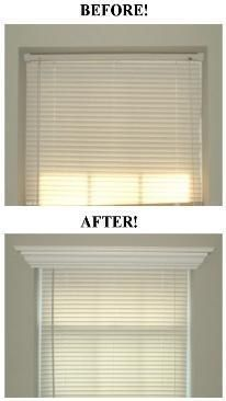 Add crown molding to the top of a window frame for a serious yet simple face…