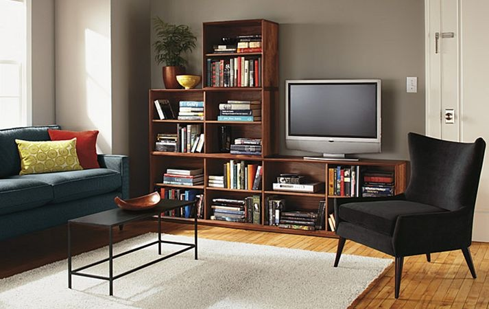 Semi modular bookcase tv stand for the home pinterest - What did the wall say to the bookcase ...