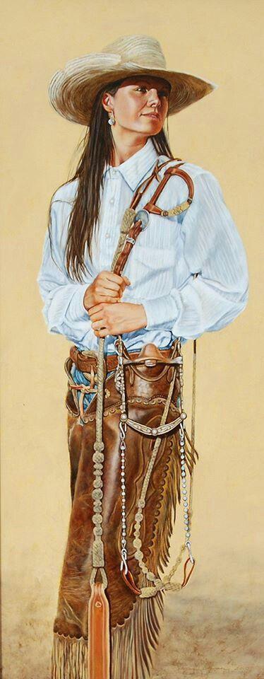 Cowgirl  - art by Steve Johnson <> (western, wild wild west, rustic)