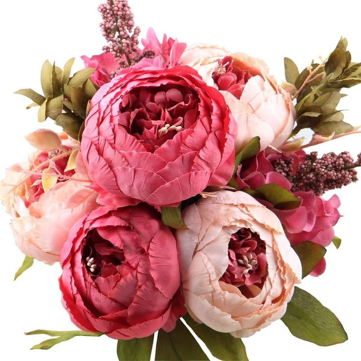 LEAGELNBSPFAKE FLOWERS VINTAGE ARTIFICIAL Peony Silk FLOWERS BOUQUET Wedding NEW #Leagel