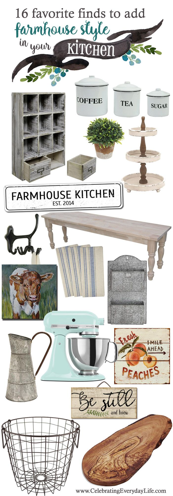 16 Favorite Finds To Add Farmhouse Style To The Kitchen