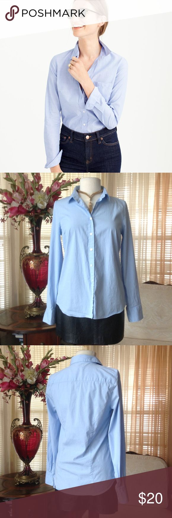 J. Crew light blue shirt In excellent condition. No defects found. Worn probably just once. Model is not wearing the exact item but similar and also from J Crew collection.                              c J. Crew Tops