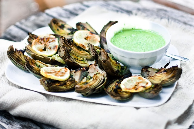 Grilled Artichoke with Lemon Basil Aioli -vegan and gluten free!