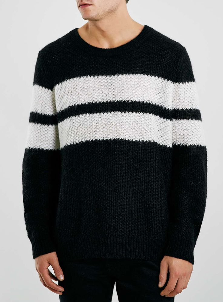 Nick Grimshaw x Topman Black/Cream Striped Knitted Jumper