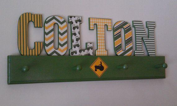 john deere room decor for kids | Tractor-John Deere Inspired Hat Rack/Coat Rack-Custom-Room Decor via ...