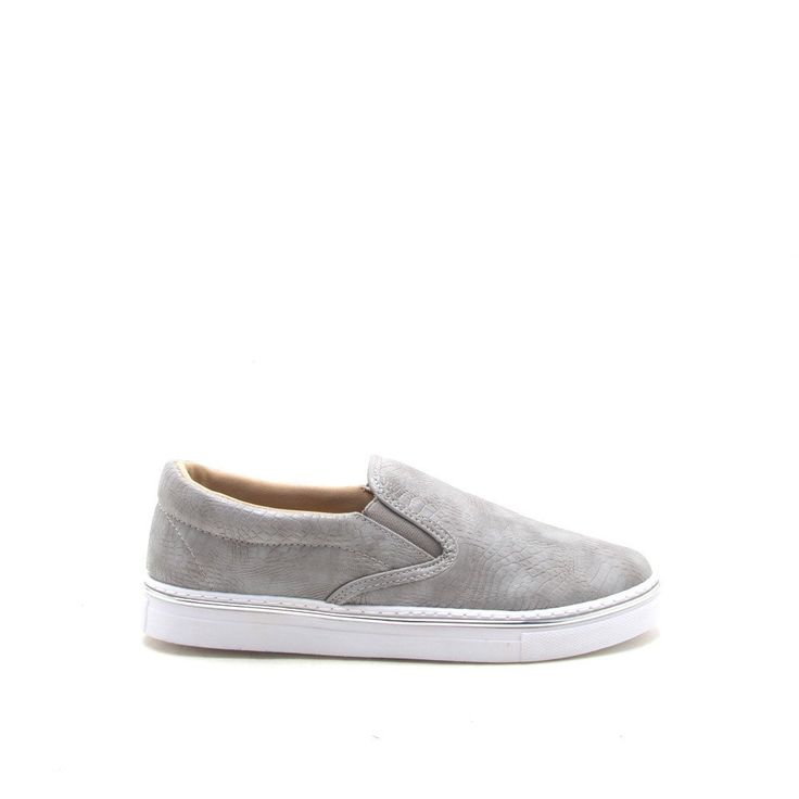 These snake embossed slip-ons refresh this sporty slip-on style. Features a leather upper, a metal trim along the sole, and a easy slip on style. Pair these with a boyfriend denims and a satin bomber
