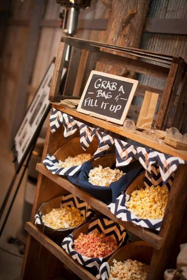 Popcorn Bar Navy & Yellow wedding Barn wedding at The Barn at Twin Oaks Ranch, Dardanelle, AR  Joshua Mashon Photography