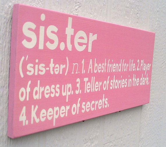 Sister Definition Wood Sign Pink and White by RedBarnSignCo
