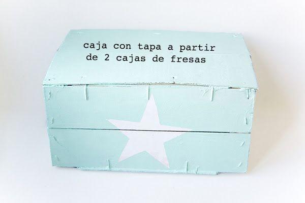 Caja con tapa con dos cajas de fresas recicladas