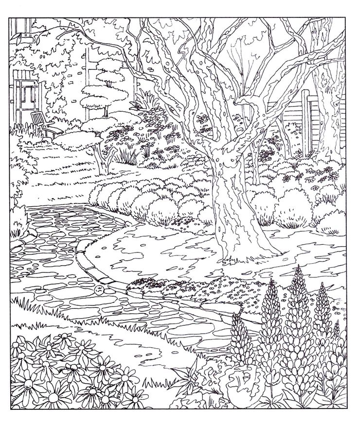 Country Gardens Adult Colouring Book Doodle Design