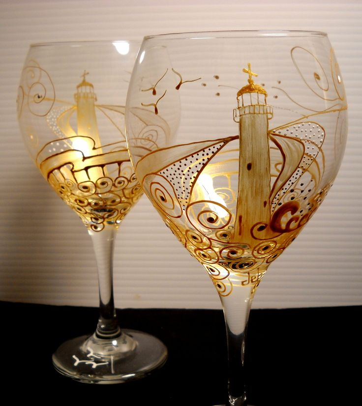 One word: Spectacular!    Hand Painted Glassware Set of Two, Wine Glasses Painted Lighthouse, Art on Glass. $65.00, via Etsy.