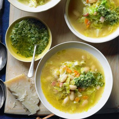 Cannellini Bean, Pancetta and Cabbage Winter Broth with Parsley Pesto