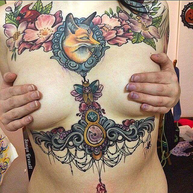 Image Result For Full Chest Tattoo Woman Full Chest Tattoos Cool Chest Tattoos Chest Piece Tattoos