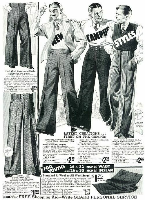 Popular for the young men of the 20's: wide-leg pants...can't beat the price