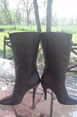 FLINGS-Women-039-s-Fine-Black-Leather-Mid-Calf-Boots-SZ-7M-Heel-is-4-034-From-Brazil