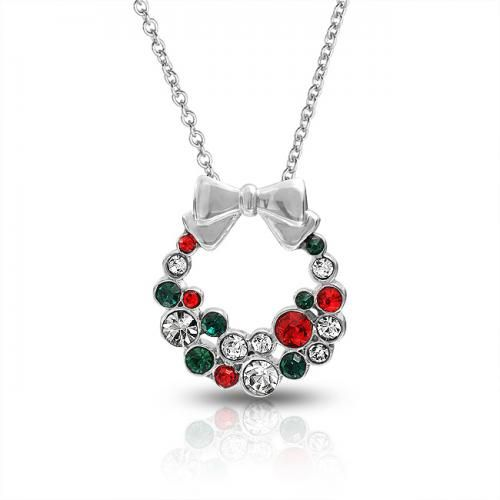 Bling Jewelry Silvertone Red Green Crystal Christmas Wreath Bow Necklace 16in