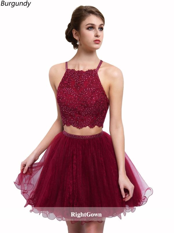 Cheap Right Gowns 2018 Summer Styles Illusion Neck Short Tulle Sleeveless  Burgundy Prom Dresses 206092 for b6a4ba994