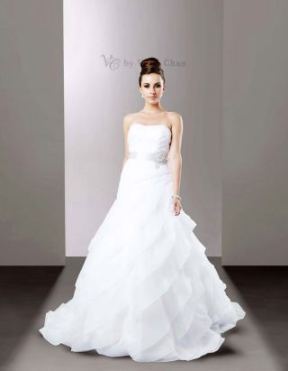 organza layered wedding gown