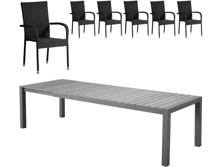 Gartenmobel Set Miami Malaga 92x205 6 Stuhle Schwarz Danisches