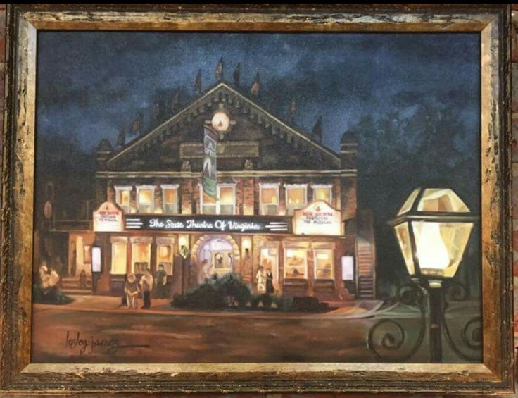"""Portrait of the Barter Theatre showing """"Footloose"""". 18x24 Oil on Canvas by Lesley James Studios. For sale at Wolf Hills Antiques on Main Street in Abingdon VA. Go check out their beautiful shop! #lesleyjamesstudios #LOVEtheadventure #bartertheatre #wolfhillsantiques #loveva #visitabingdonva #virginiatourism #virginialiving #fineartcollector #local #theatre #footloose"""