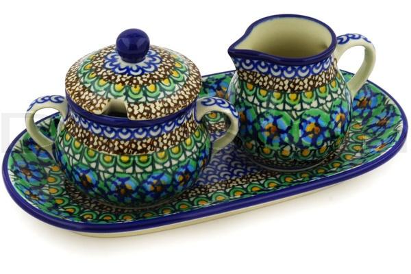 Polish Pottery Stoneware SUGAR AND CREAMER SET