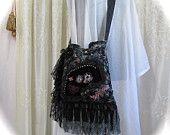 Lace Velvet Purse, handmade fabric bag, black lace blue, lacey fringe embellished shoulder bag