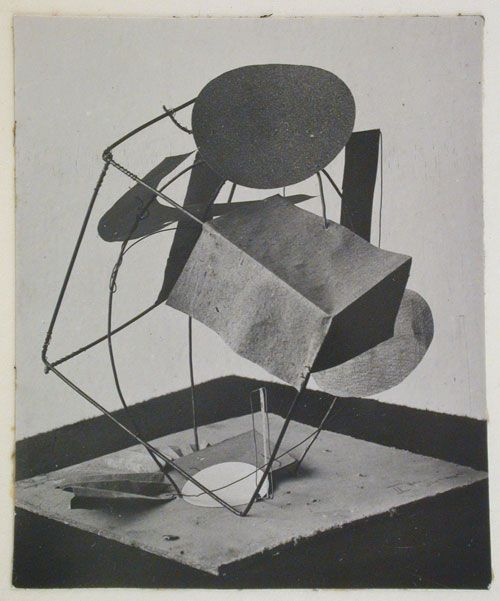 """Unknown photographer. Student model for an exercise in """"Constructing a Cubical Form Based on Combination of Mass and Space"""", Vkhutemas, Moscow, Soviet Union, 1920-1926. Gelatin silver print. Canadian Centre for Architecture, Montréal; Gift of Howard Schickler and David Lafaille."""
