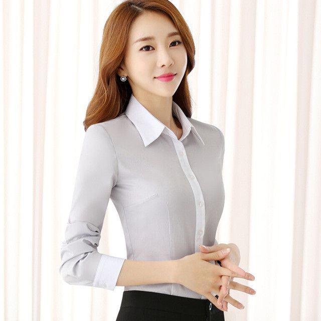 Autumn formal long sleeve women Twill shirt fashion temperament Patchwork blouse work office ladies plus size tops white gray