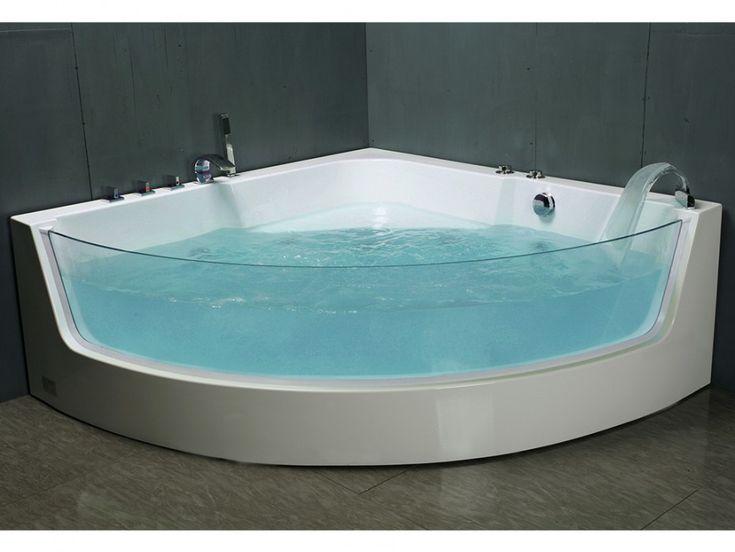 Baignoire baln o d 39 angle vitr e palama 2 places 150 150 h57cm 4 hyd - Baignoire balneo encastrable ...