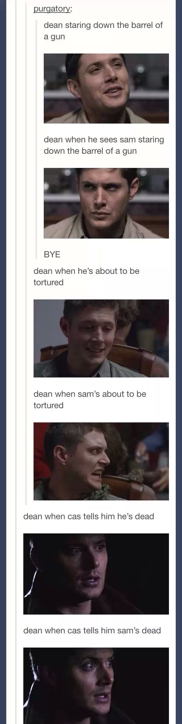 He doesn't  care about himself, only Sammy. He has to protect his little brother, no matter what.
