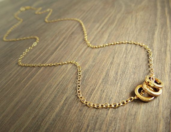 Three Gold Circles Necklace  Three Rings Necklace by SoCoolCharms, €18.47