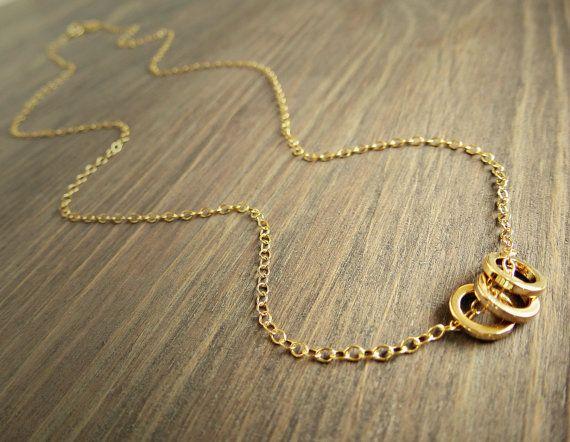 Three Gold Circles Necklace - Three Rings Necklace, Dainty Gold Necklace, Simple, everyday, gold necklace, Tiny circle necklace.