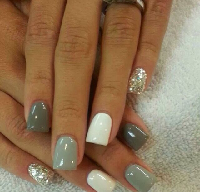 Gray scale with stones gel nail design