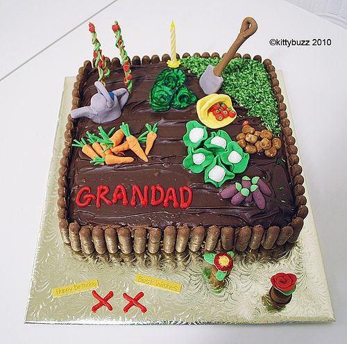 Chocolate cake with cute vegetable plot detail. Not quite a barrel cake but I still think is deserves a place on this board. & The 183 best Birthday Cake Decorations Ideas images on Pinterest ...