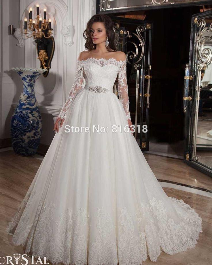 Vestido De Noiva Manga Longa Sexy Ball Gown Country Style Wedding Dresses Long Sleeve White Lace Wedding Dress 2015 Casamento-in Wedding Dresses from Weddings & Events on Aliexpress.com   Alibaba Group
