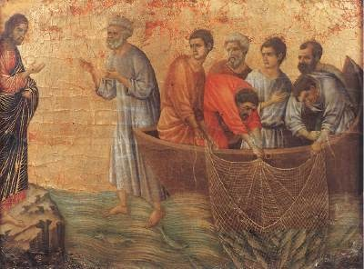"Peter Jumps from the Boat to Reach Jesus. BIBLE SCRIPTURE: John 21:7, ""Therefore that disciple whom Jesus loved saith unto Peter, It is the Lord. Now when Simon Peter heard that it was the Lord, he girt his fisher's coat unto him, (for he was naked,) and did cast himself into the sea."" - http://access-jesus.com/John/John_21.html"