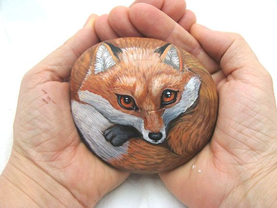 Rocks painted like fox red fox painted rock by for Art sites like etsy