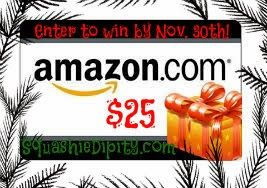 Enter to win a $25 Amazon Gift Card by November 30th to help with your Holiday shopping. If we reach 4,000 Facebook fans by the end of this giveaway, I'll add an extra winner! Share, share, share! Open Worldwide!
