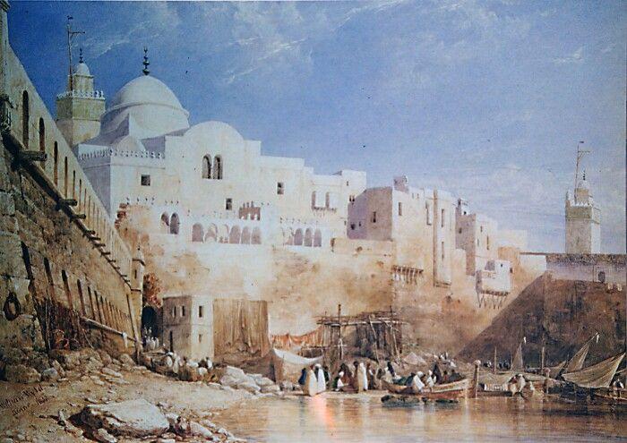 Algérie - Peintre Anglais William WYLD (1806-1889 ), huile sur toile 1833, Titre : Port d'Alger