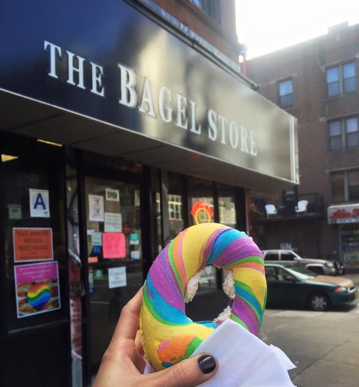 The Infamous RAINBOW BAGELS in Brooklyn, New York. A multi-colored baked good is the best breakfast by far... especially in the streets of NYC.