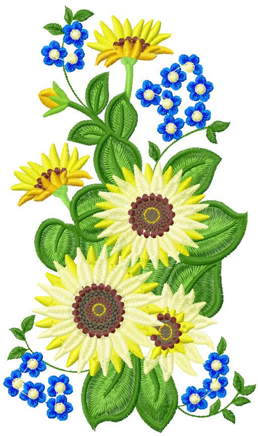 Sun flower free embroidery 2 - Flowers free machine embroidery designs - Machine embroidery community