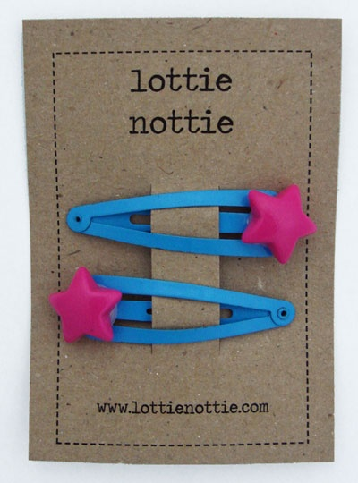Hot pink stars on blue clips by lottie nottie: Hair Clips, Blue Hair