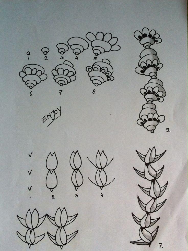 Zentangle tutorial. Tulip and hippie flower. Zentangle stap voor stap tulp en hippie bloem.