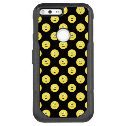 Yellow Smiley Face on a Black Background OtterBox Commuter Google Pixel XL Case - black gifts unique cool diy customize personalize