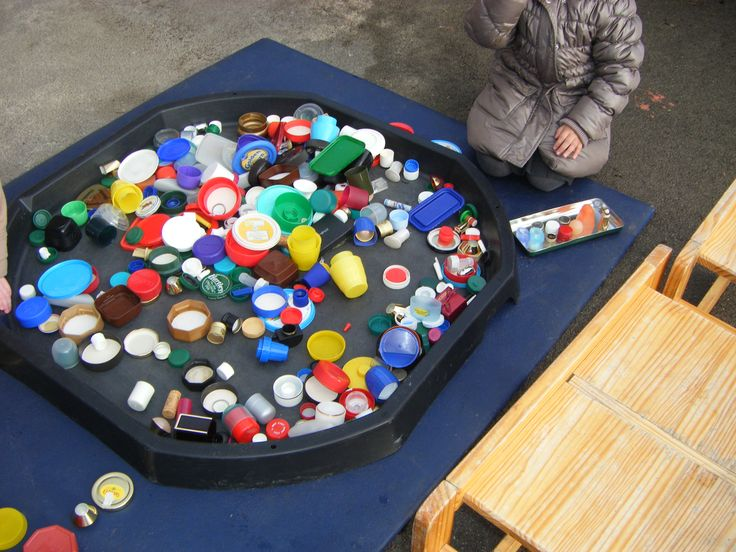 Get everyone you know to collect lids - from bottles, tubs and jars. They are brilliant for sorting and matching activities -  lots of different shapes - you can make patterns with them - you can look for writing - the children can draw and copy them - some are embossed so they can use a wax crayons to do rubbings - the children will recognise some of them - lids from perfume bottles are special too, often shiny and unusual shapes!