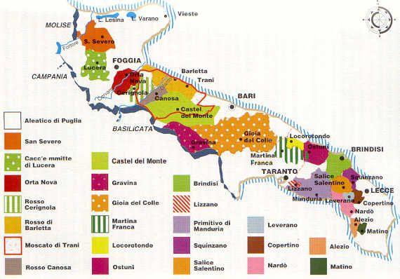 Mappa Enologica Puglia Zone Doc Zone Di Produzione Vini Doc Vino Puglia Mappa