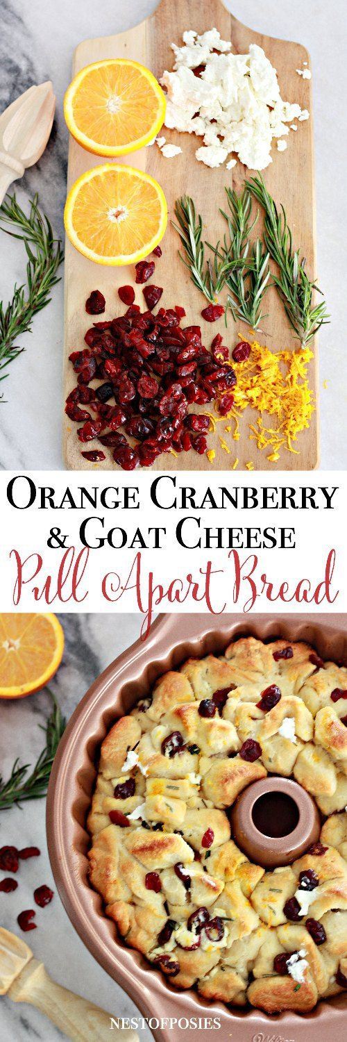 Orange Cranberry and Goat Cheese Pull Apart Bread. Perfect for the holidays!